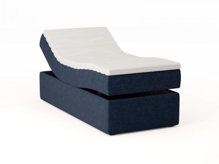 Premium regulerbar seng 90x200 - mørk blå